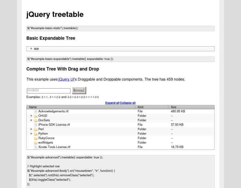 jquery treetable树形表格菜单插件