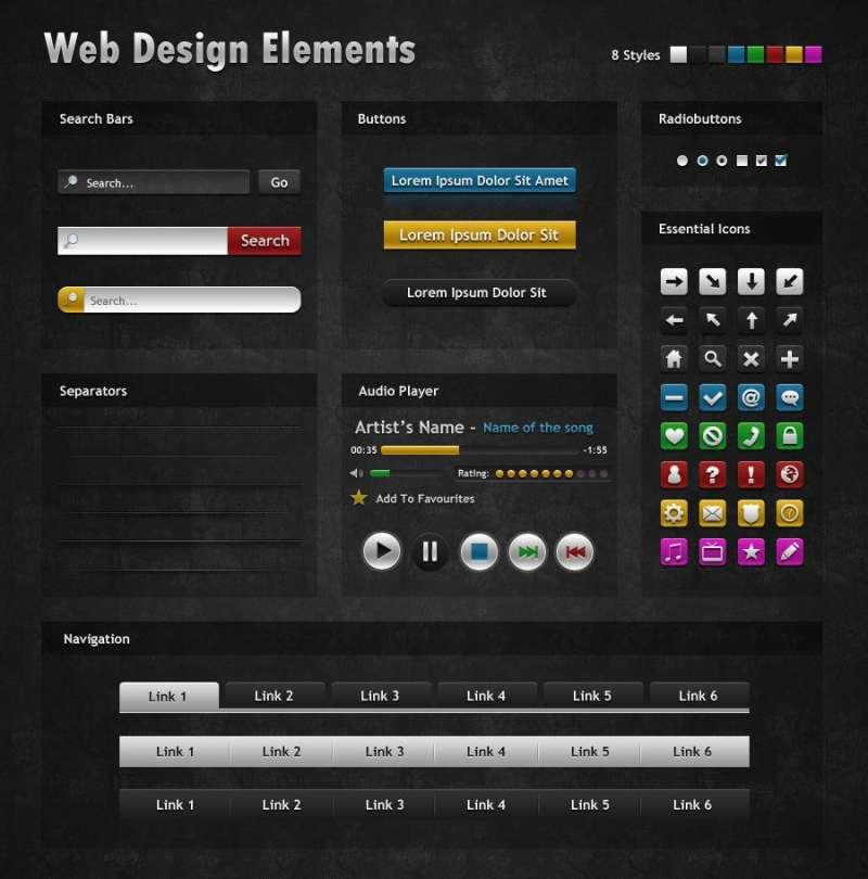 黑色很酷的网页界面UI设计元素psd素材下载