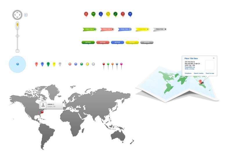 世界地图位置坐标ui设计元素psd分层素材下载