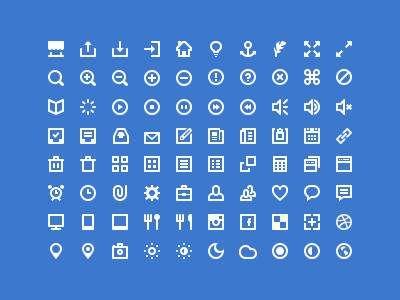 80个纯白色的精美小图标工具包psd素材下载