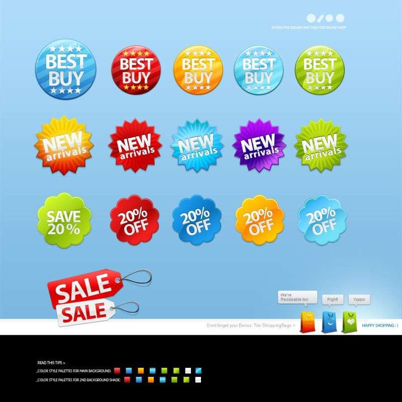购物商城折扣标签_促销活动标签图标PSD素材
