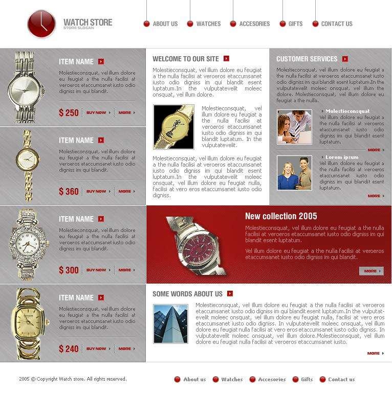 外国的手表配饰企业门户网站模板psd下载