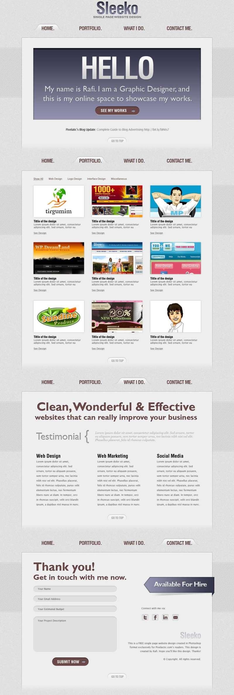 sleeko网页设计工作室个人网站模板PSD素材下载