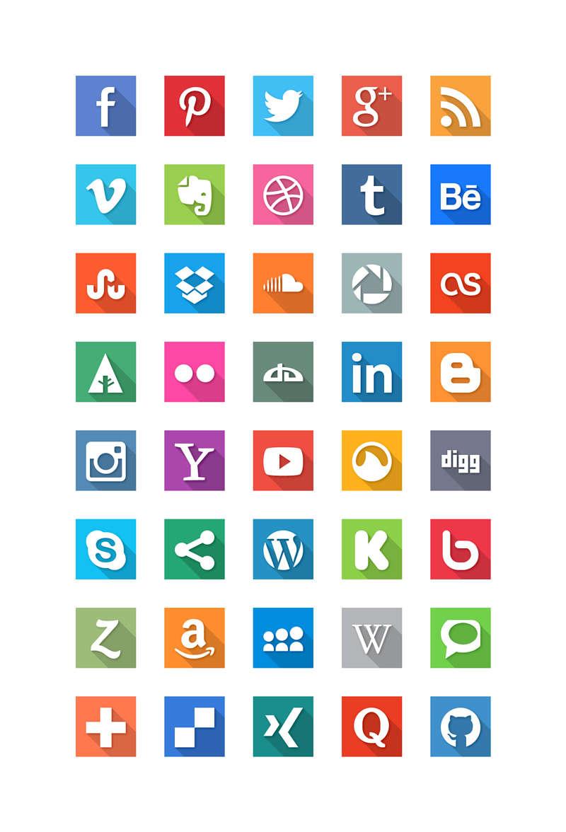 各大网站logo扁平化图标设计PSD素材