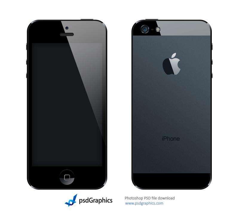 黑色的苹果iphone5正面和反面手机ui psd分层素材下载