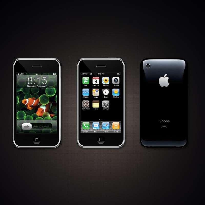 黑色的iPhone手机正面和iPhone手机反面PSD分层素材