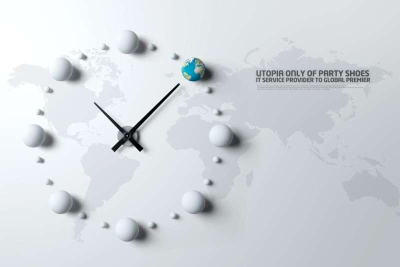 创意的世界地图和世界时钟商务管理PSD素材下载
