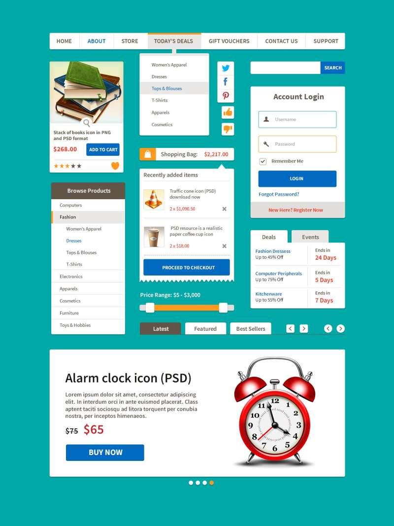 简洁的商务网站ui扁平化设计元素psd分层素材下载