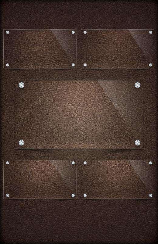 皮革质感的墙面贴这透明玻璃告示板面PSD分层素材下载