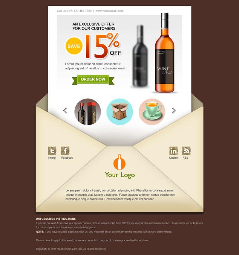 创意信封界面网页模板PSD素材