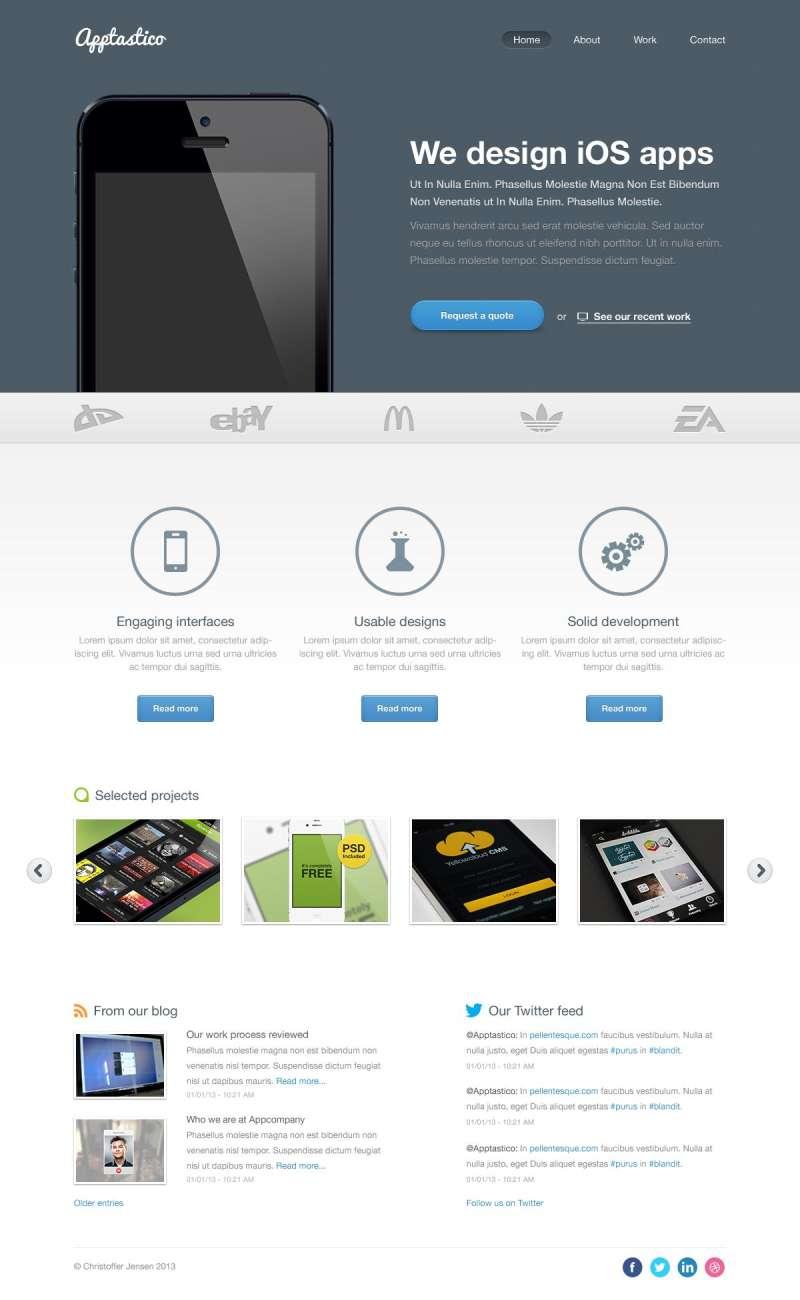ios apps手机应用网站模板PSD素材