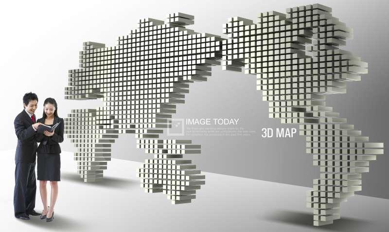 网络销售网点图片素材_立体世界地图PSD素材