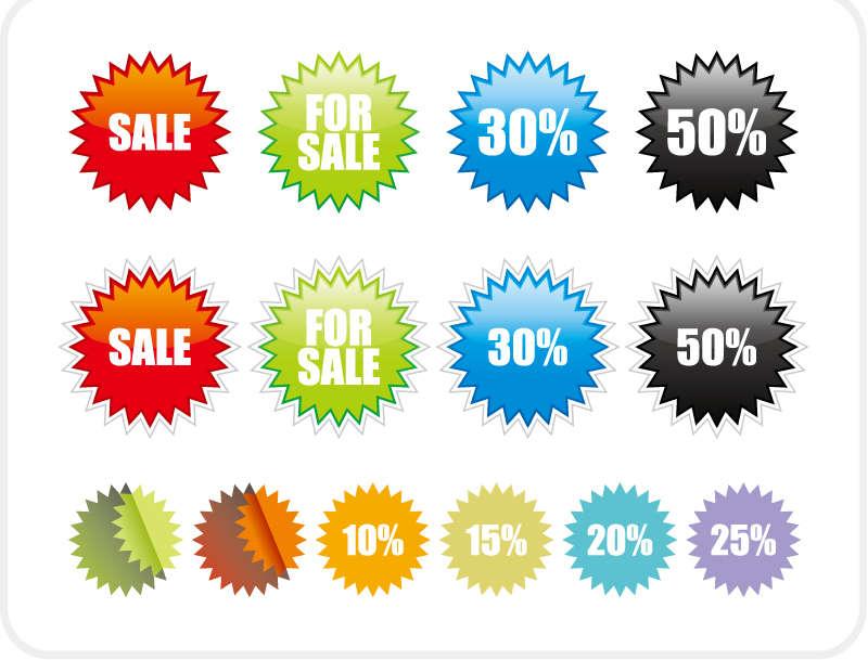 彩色圆形锯齿状的商城购物折扣标签图标AI矢量素材下载