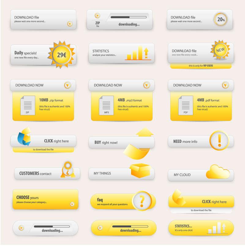 黄色带阴影的按钮_手机下载按钮AI矢量素材下载