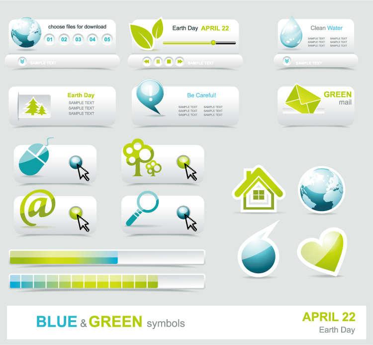 绿色调简洁的网页图标按钮AI矢量素材下载
