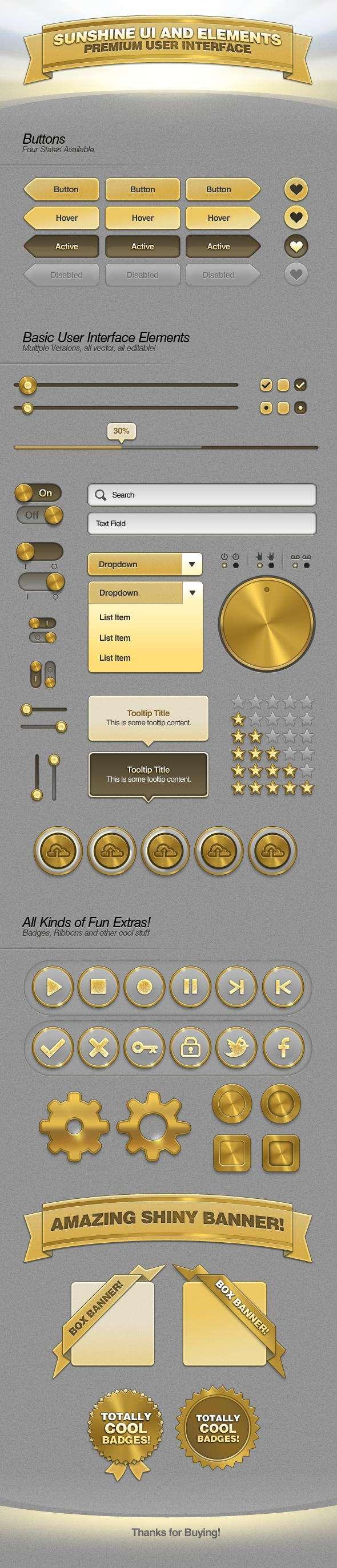 金黄色的网页ui界面设计元素PSD分层素材下载