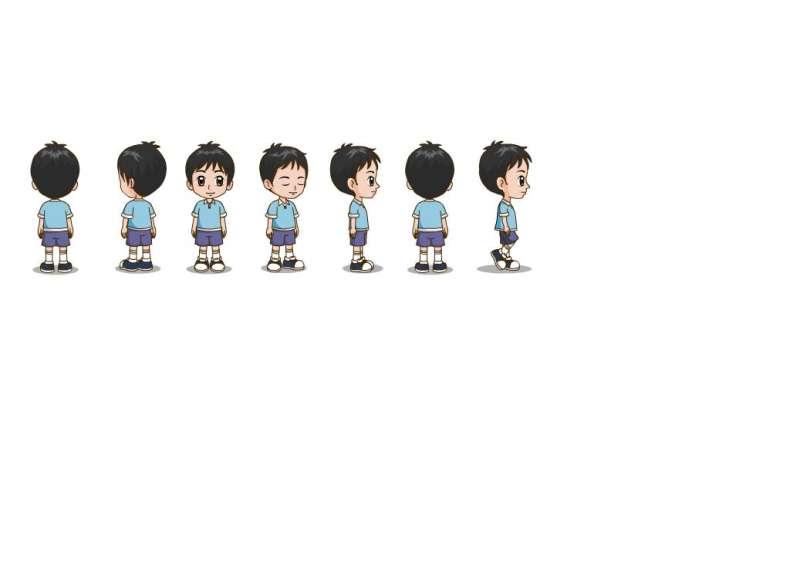 多角度小男孩人物flash动画