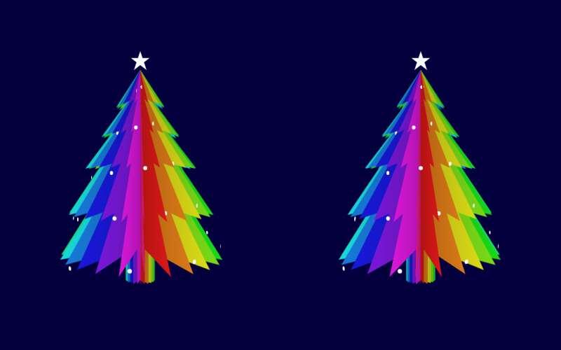 卡通彩色圣诞树动画特效