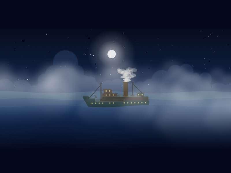 夜晚海上的轮船动画场景特效