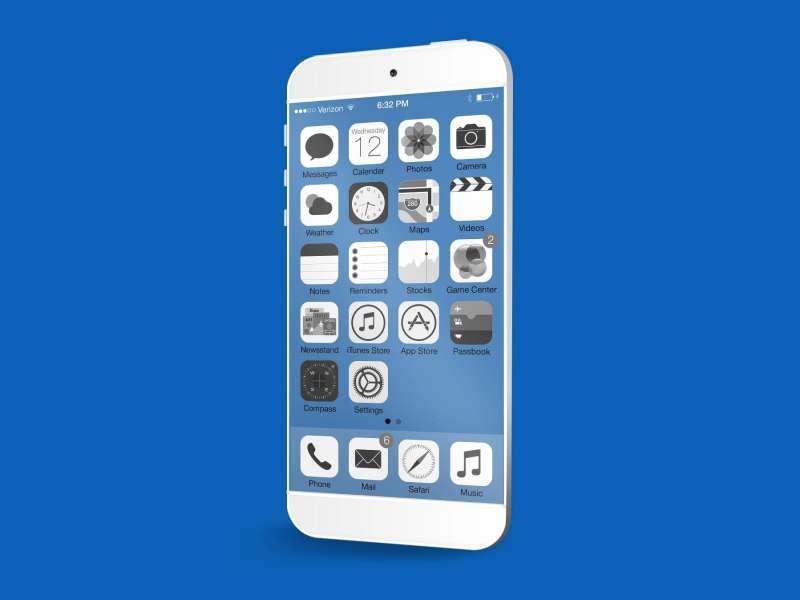 白色的苹果iphone6透明手机界面设计psd分层素材下载