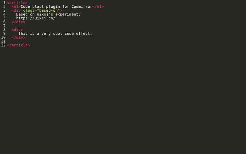 html5在线代码编辑器输入爆炸动画特效