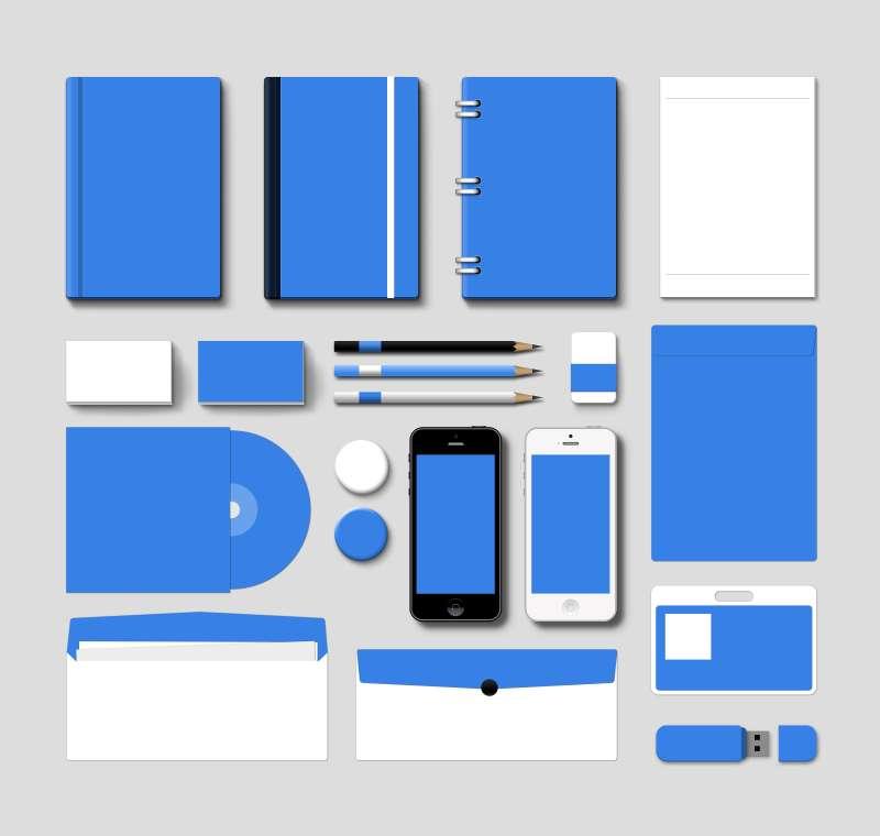 蓝色的办公用品模板设计psd源文件下载