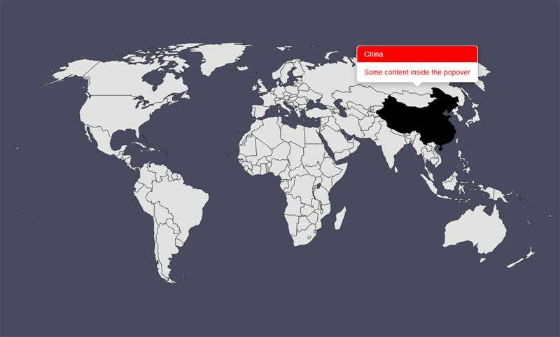 html5 svg世界地图地区提示框代码