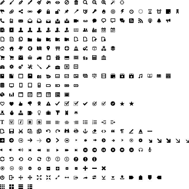 16x16黑色常用的网站后台图标png透明图标素材下载
