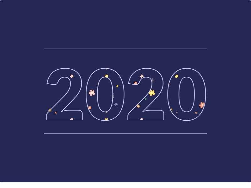 創意的2020數字填充背景動畫特效