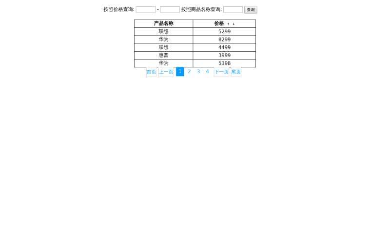 js商品名称价格查询表格代码