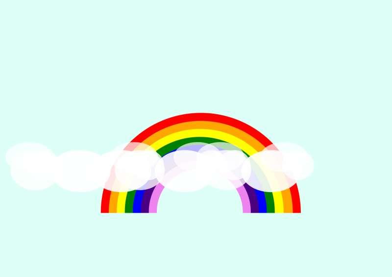 彩虹和白云網頁元素特效