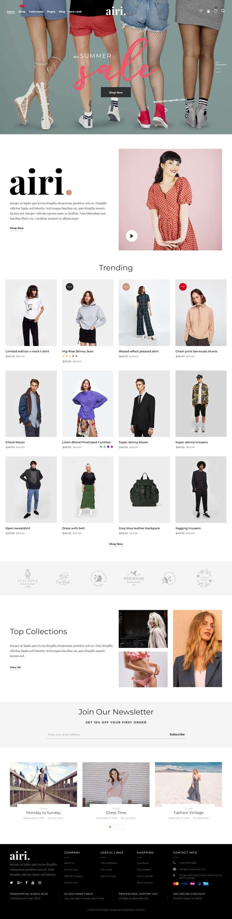 Bootstrap服装内衣购物电商网站模板