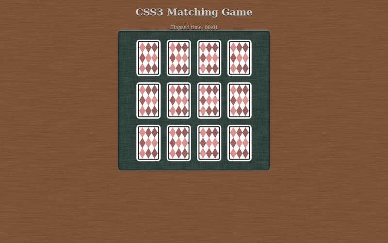 jQuery扑克牌配对小游戏代码