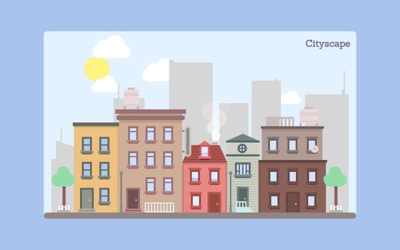 css3卡通的城市空间动画场景特效