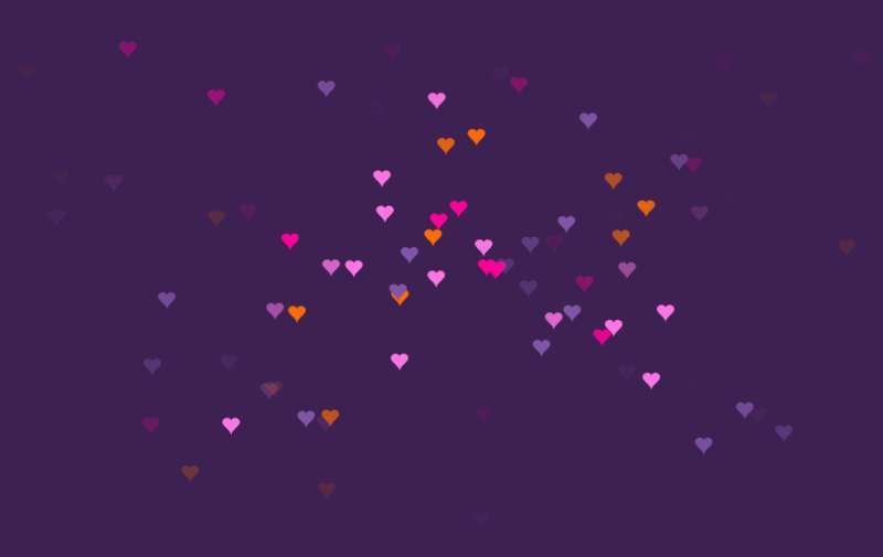 css3绘制爱心雨动画特效
