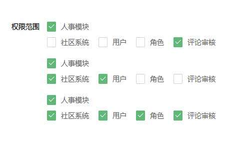 layui checkbox权限范围单选全选取消
