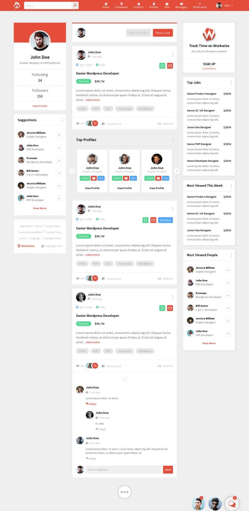 紅色的微博社交平臺HTML模板