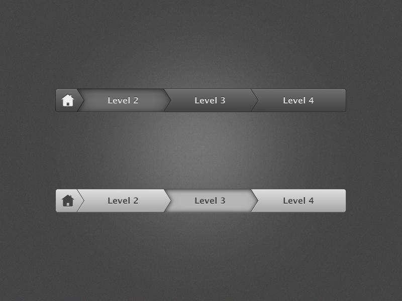 黑色和白色带箭头的网页步骤导航条PSD下载
