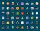彩色扁平的生活图标大全平psd分层素材下载