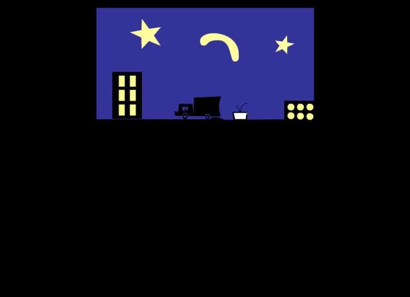 卡通夜晚城市场景flash动画素材