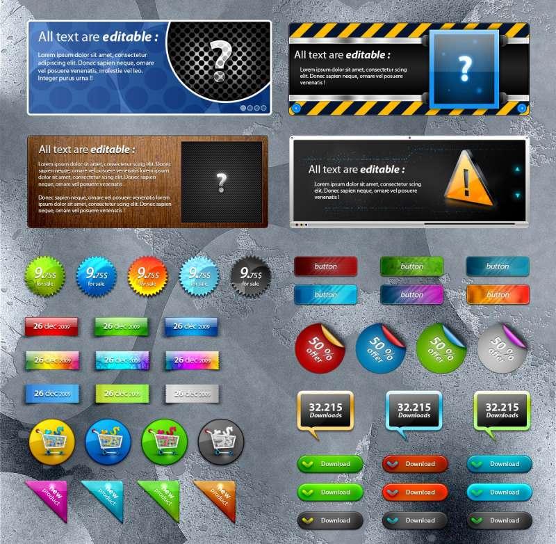 精美的彩色按钮UI网页设计PSD素材