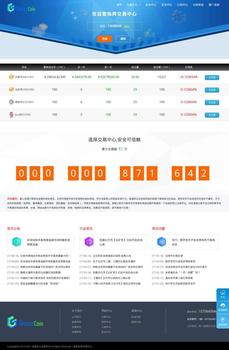 比特币行情交易平台网页模板