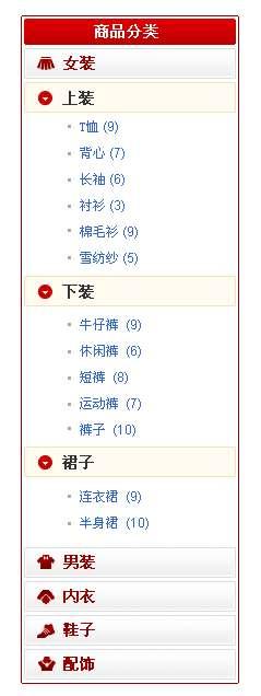 服装购物网站红色的商品分类列表设计