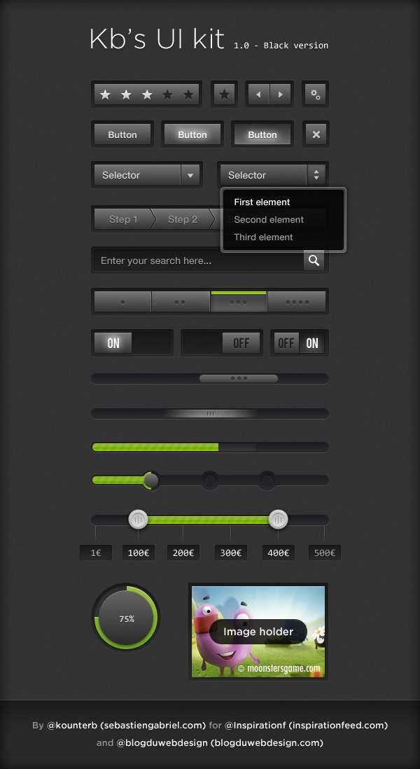 黑色网页ui工具包_黑色网页ui界面设计素材下载