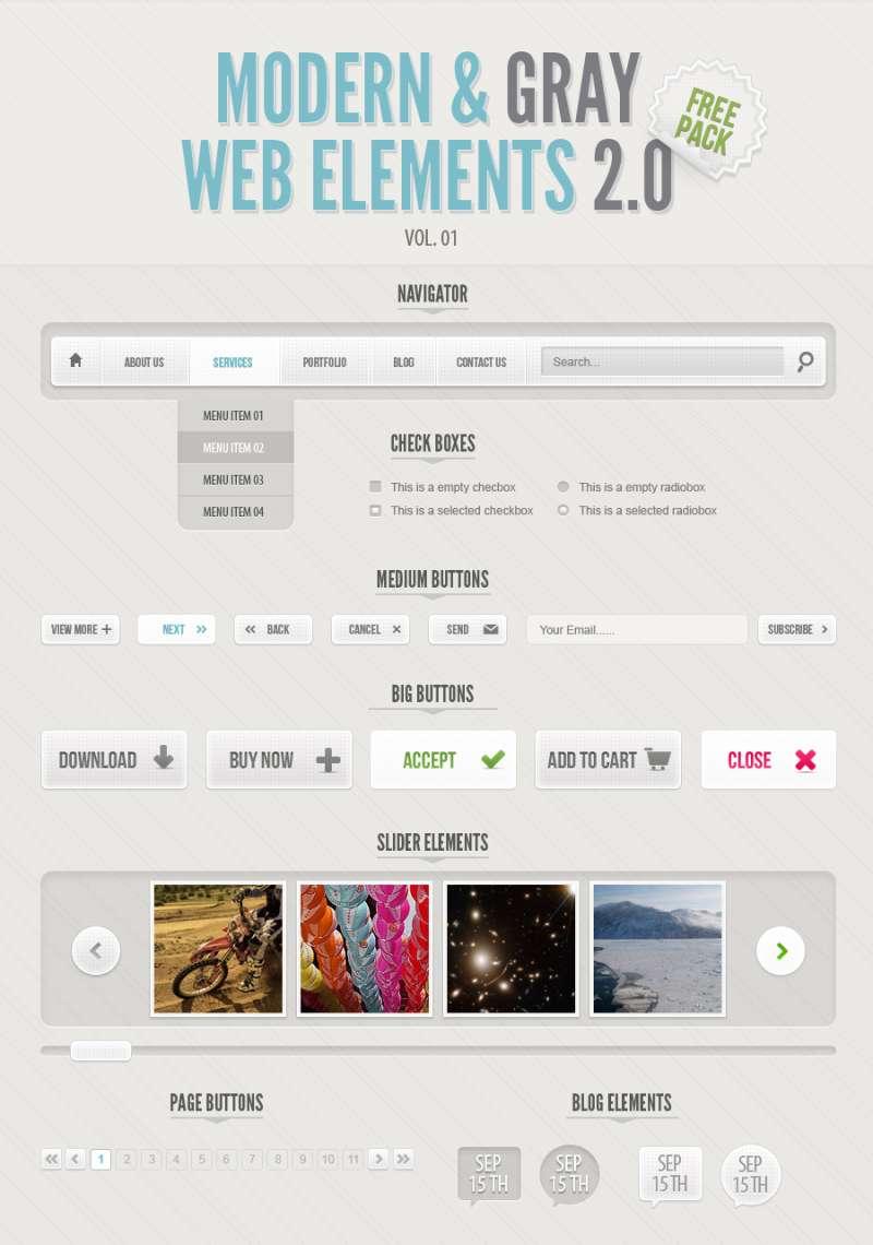 Web 2.0网页元素时尚灰色网页ui素材下载