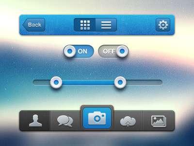 蓝色iphone ui社交网站界面设计_手机ui界面iphone的设计