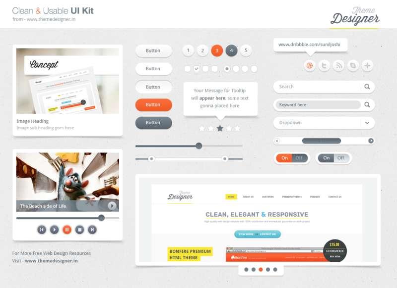 清爽的白色网页UI工具包素材_web 2.0网页ui界面素材下载