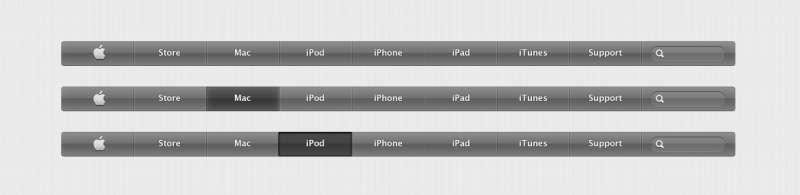 苹果网站导航条设计_黑色水晶质感导航素材下载