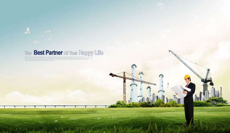 绿地房产建筑广告banner素材psd分层素材下载
