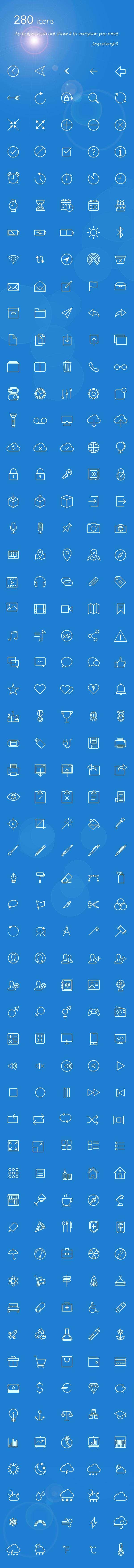 白色线性的IOS手机页面小图标素材